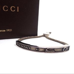 Authentic Gucci Sterling Silver Cord Bracelet